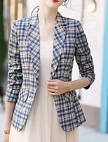 abordables -Femme Blazer, Tartan Revers Cranté Polyester Jaune / Bleu