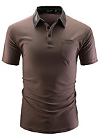 cheap -Men's Daily Polo - Color Block Shirt Collar Black / Short Sleeve