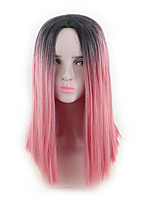 cheap -Synthetic Wig Straight Asymmetrical Wig Medium Length Ombre Pink Synthetic Hair 16 inch Women's Best Quality Pink Ombre