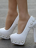 cheap -Women's Wedding Shoes Stiletto Heel Round Toe Rhinestone / Imitation Pearl / Sparkling Glitter PU Sweet / Minimalism Spring &  Fall / Spring & Summer White / Party & Evening
