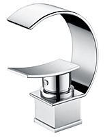 cheap -Bathroom Sink Faucet - Waterfall Chrome Centerset Single Handle One HoleBath Taps