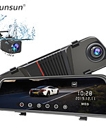 cheap -Junsun H11 Back Camera 1080P Car DVR Dual Lens Dash Cam 10'' IPS Touch Screen Rear view Mirror Driving Recording Recorder