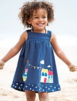 cheap -Toddler Girls' Geometric Long Sleeve Dress Blue
