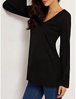 abordables -Tee-shirt Femme, Couleur Pleine Plissé Chic de Rue / Elégant Noir