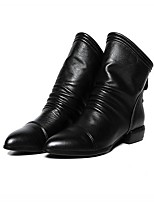 cheap -Women's Boots Block Heel Pointed Toe PU Mid-Calf Boots Fall & Winter Black