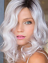 cheap -Synthetic Wig Curly Asymmetrical Wig Medium Length Ombre White Synthetic Hair 16 inch Women's Best Quality White Ombre