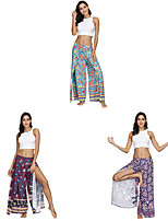 cheap -Women's Yoga Pants Winter Harem Print Amethyst Red+Blue Light Blue Dance Fitness Gym Workout Bloomers Sport Activewear Lightweight Breathable Quick Dry Soft Stretchy Loose