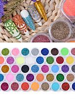 abordables -45 pcs / ensemble sucre ongles glitter poudre poussière manucure art décoration acrylique poudre chrome pigment pour uv polonais bricolage ongles salon