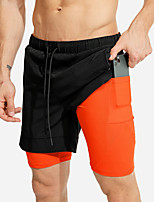 cheap -Men's Running Shorts 2 in 1 Split Sports Shorts Running Fitness Jogging Breathable Quick Dry Soft Color Block Black Black / Orange Red Khaki / Stretchy