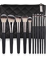 cheap -Miyaup 15 classic eyebrow brush blush brush good quality makeup brush black PU bag European and American popular makeup brush set