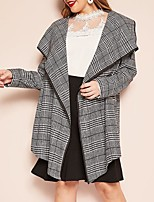 cheap -Women's Daily Fall & Winter Long Coat, Plaid Turndown Long Sleeve Rayon / Polyester Black