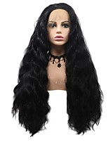 cheap -Synthetic Lace Front Wig Curly Layered Haircut Lace Front Wig Medium Length Natural Black Synthetic Hair 26 inch Women's Classic Women Black Sylvia