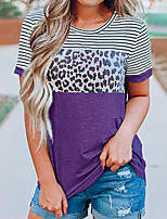cheap -Women's Daily Going out Basic / Street chic T-shirt - Striped / Leopard / Color Block Patchwork Black