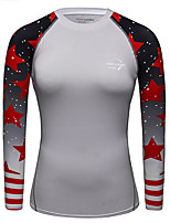 cheap -CODYLUNDIN Women's Round Neck Compression Shirt Running Shirt Running Base Layer Patchwork Geometric Red / White Black / Red Orange+White Black / Yellow White Yoga Running Active Training Top Long