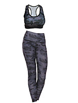 cheap -Women's Tracksuit Camo Black White Grey Running Fitness Gym Workout Leggings Bra Top Sleeveless Sport Activewear Breathable Moisture Wicking Comfortable High Elasticity