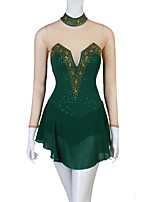 abordables -Robe de Patinage Artistique Femme Fille Patinage Robes Vert foncé Mosaïque Fil élastique Haute élasticité Compétition Tenue de Patinage Cristal / Stras Patinage Artistique