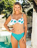 cheap -Women's Basic Boho Blue Triangle Cheeky Bikini Swimwear - Geometric Color Block Backless Print S M L Blue