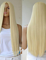 cheap -Synthetic Wig Straight Asymmetrical Wig Long Light Blonde Synthetic Hair 27 inch Women's Best Quality Blonde