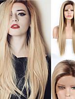 abordables -Perruque Lace Front Synthétique Droit Partie latérale Lace Frontale Perruque Long Ombre Blonde Cheveux Synthétiques 18-26 pouce Femme Cosplay Doux Soirée Blond A Ombre