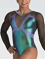 cheap -21Grams Rhythmic Gymnastics Leotards Artistic Gymnastics Leotards Women's Girls' Leotard Green Spandex High Elasticity Handmade Jeweled Diamond Look Long Sleeve Competition Dance Rhythmic Gymnastics