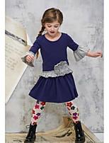 cheap -Toddler Girls' Basic Floral 3/4 Length Sleeve Dress Navy Blue / Cotton