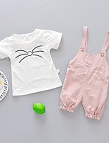 cheap -Kids Girls' Active School Daily Wear Print Print Short Sleeve Long Regular Clothing Set Blushing Pink
