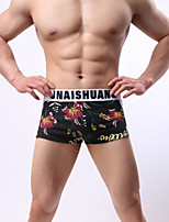 cheap -Men's Print Briefs Underwear Mid Waist Black White Purple M L XL