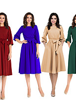 cheap -The Marvelous Mrs. Maisel Retro Vintage 1950s Wasp-Waisted Dress Women's Spandex Costume Green / Burgundy / Blue Vintage Cosplay Party Daily Wear 3/4 Length Sleeve Knee Length