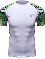 cheap -CODYLUNDIN Men's Patchwork Running T-Shirt Compression Shirt Running Base Layer Round Neck Running Active Training Jogging Breathable Soft Sweat-wicking Sportswear Top Short Sleeve Activewear Stretchy