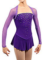 cheap -Figure Skating Dress Women's Girls' Ice Skating Dress Purple Spandex High Elasticity Training Competition Skating Wear Handmade Patchwork Crystal / Rhinestone Long Sleeve Ice Skating Figure Skating