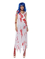 cheap -Ghostly Bride Dress Cosplay Costume Adults' Women's Cosplay Halloween Halloween Festival / Holiday Polyester White Women's Carnival Costumes