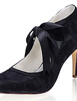 cheap -Women's Wedding Shoes Stiletto Heel Closed Toe Lace / Satin Sweet Spring & Summer / Fall & Winter Black