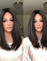 cheap -Synthetic Wig kinky Straight Asymmetrical Wig Medium Length Natural Black Synthetic Hair 17 inch Women's Best Quality Black