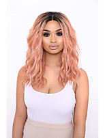 cheap -Synthetic Lace Front Wig Wavy Middle Part Lace Front Wig Short Black / Pink Synthetic Hair 12-16 inch Women's Adjustable Heat Resistant Party Ombre