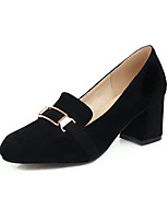 cheap -Women's Heels Chunky Heel Square Toe Suede Casual / Minimalism Spring & Summer Black / Beige