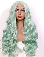cheap -Synthetic Lace Front Wig Matte Bouncy Curl Middle Part Glueless Lace Front Wig Long Medium Length Mint Green Synthetic Hair 24 inch Women's Party Women Sexy Lady Green