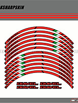 cheap -Brown / White / Blushing 12 X Thick Edge Outer Rim Sticker Stripe Wheel Decals FIT all DUCATI DIAVEL