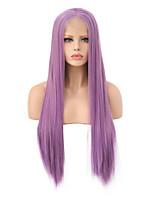 abordables -Perruque Lace Front Synthétique Droit Partie latérale Lace Frontale Perruque Long Violet Cheveux Synthétiques 18-26 pouce Femme Doux Ajustable Soirée Violet