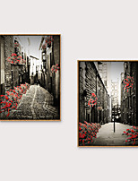 cheap -Framed Art Print Framed Set - Landscape Scenic PS Oil Painting Wall Art