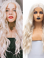 cheap -Synthetic Lace Front Wig Wavy Middle Part Lace Front Wig Long Light golden Synthetic Hair 18-26 inch Women's Cosplay Soft Adjustable Blonde