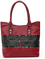 cheap -Women's Zipper PU Top Handle Bag Solid Color Black / Red / Gray