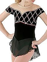 abordables -Robe de Patinage Artistique Femme Fille Patinage Robes Noir Spandex Haute élasticité Entraînement Compétition Tenue de Patinage Fait à la main Mosaïque Cristal / Stras Manches mi-longues Patinage sur