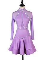 abordables -Danse latine Robes Femme Utilisation Spandex Cristaux / Stras Manches Longues Robe