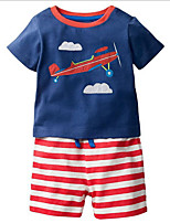 cheap -Kids Boys' Basic Color Block Short Sleeve Clothing Set Blue