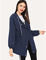 cheap -Women's Holiday / Going out Basic Fall & Winter Short Coat, Solid Colored Sun Flower V Neck Long Sleeve Faux Linen Print Navy Blue