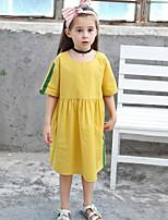 cheap -Kids Girls' Color Block Dress Yellow