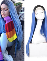 cheap -Synthetic Lace Front Wig Silky Straight Middle Part Lace Front Wig Long Black / Blue Synthetic Hair 18-24 inch Women's Adjustable Heat Resistant Synthetic Blue Ombre