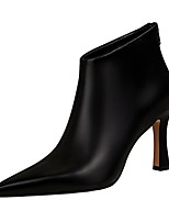 cheap -Women's Boots Stiletto Heel Pointed Toe PU Booties / Ankle Boots Spring & Summer Black / White