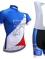 cheap -21Grams Men's Short Sleeve Cycling Jersey with Bib Shorts Blue / White Geometic Bike Clothing Suit UV Resistant Breathable 3D Pad Quick Dry Reflective Strips Sports Solid Color Mountain Bike MTB Road