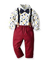 cheap -Kids Toddler Boys' Basic Birthday Party Party & Evening Geometric Print Short Sleeve Regular Regular Clothing Set White